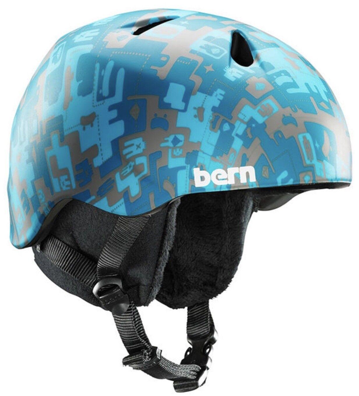 Bern Nino Jungen Kinder Schnee Fahrrad Fahrrad Fahrrad Skate Helm Blau Camo XS-S 48-51 5 Cm 74cf4b