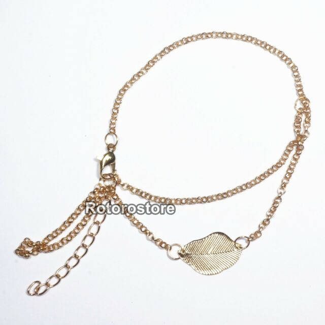 Dangle Chain with Leaf Bracelet - Womens Bangle Cuff -NEW