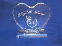Crystal Browning Deer Wedding Cake Topper Engraved Personalize Free