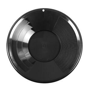 """Brillant 12"""" Black Plastic Gold Pan W/ Shallow & Deep Riffles For Gold Prospecting Des Biens De Chaque Description Sont Disponibles"""