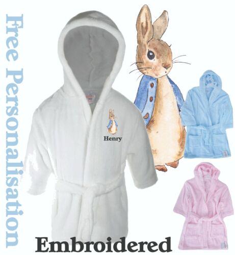 Personalised Peter Rabbit Baby Childrens Bath Robe Dressing Gown Nightwear