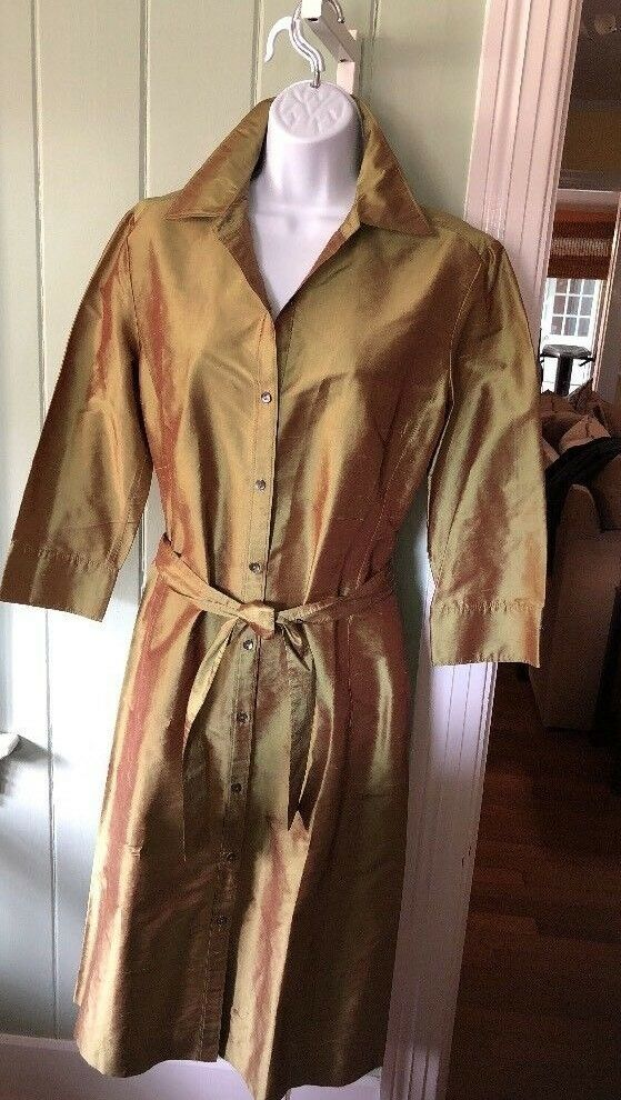 LIDA BADAY 100% IRIDESCENT SHANTUNG SILK ANTIQUE gold BELTED COAT DRESS SIZE10
