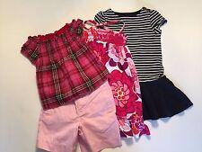 LOT Girl's GAP 3 pc. Smocked Plaid BABYDOLL TOP~Pink SHORTS~Floral DRESS 2 2T