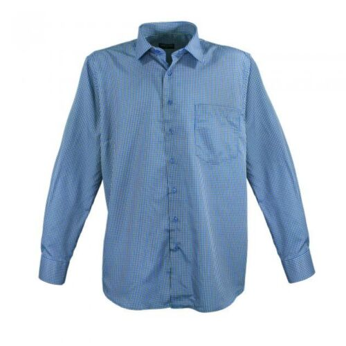 Lavecchia Basic Langarm Hemd kariert Blau 3XL 4XL 5XL 6XL 7XL NEU *