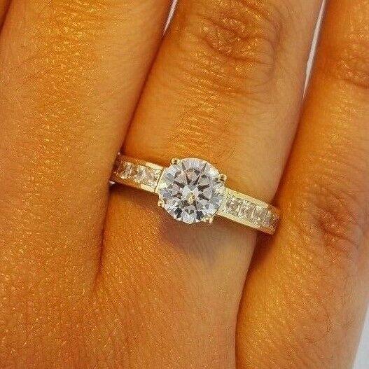 1.25 CT. 14K Yellow gold Round Princess Cut Channel Set Diamond Engagement Ring