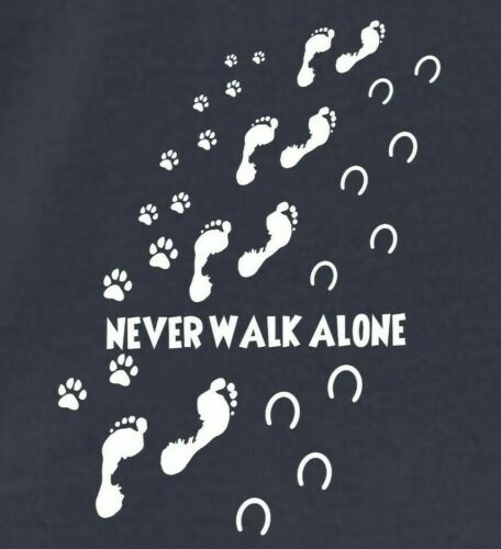 NEVER WALK ALONE DOG /& HORSE Paw /& Hoof Prints Pony Lovers LADIES T-SHIRT 8-16