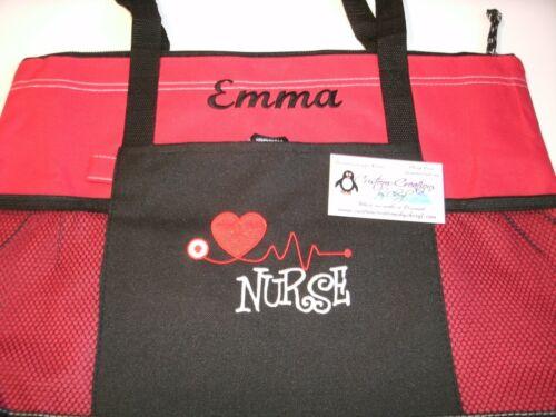 RN BSN HHA Nurse Heart Stethoscope Personalized Tote Bag LPN CNA