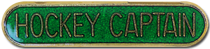 Hockey Captain Pin Badge in Green Enamel With Rounded Edge
