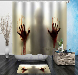 Image Is Loading Halloween Horror Bath Shower Curtain Bloody Hands Creepy
