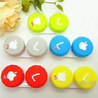 1 Pcs Apple Print Candy Colour Contact Lens Case Container Box Eye Care Vision