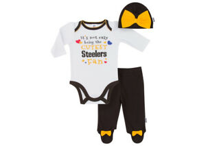 0fa809a7ee3e22 Image is loading Pittsburgh-Steelers-Baby-Girl-3pc-Onesie-Bodysuit-Hat-