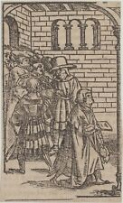 Heiliger INKUNABEL Original Holzstich um 1580 Evangelium Religion Rückseite TEXT