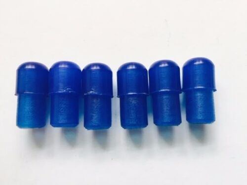 6 x Blue Plastic Translucent Endcaps Ulma Vigano Ardor for 12mm Tube Trans Blue
