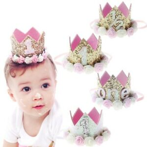 1st Birthday Crown Flower Tiara Headband Baby Girls Party Hairband ... 4561be10d1e