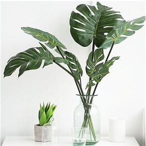 Image Is Loading 12pcs Artificial Palm Fern Turtle Leaves Plastic Silk