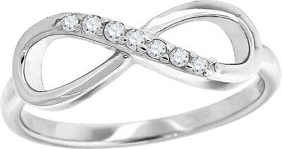 New Ladies Sterling Silver Infinity Simulated Diamond Ring in White Gold Finish
