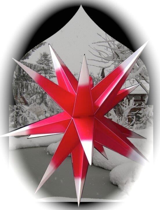 65 cm 3D Außenstern Rot   Weiß Adventsstern Weihnachtsstern + 4m Kabel 96182