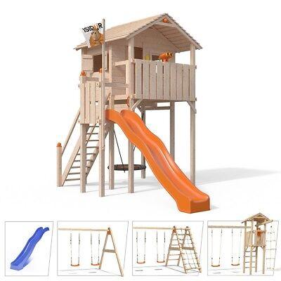 ISIDOR Domizilio XL- Baumhaus Spielturm Schaukel Rutsche auf bis 2,0m Podesthöhe