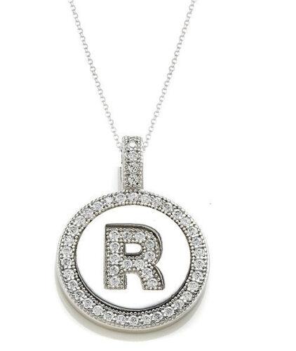 "Sterling Silver CZ Letter Initial Alphabet Pendant Necklace 18/"""