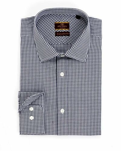 Mens 17.5 34//35 Alfa Perry Extra Slim Fit Black Gingham Check Spread Collar C...