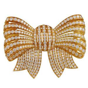 5-80CT-Natuerlich-Rund-Diamant-14K-Massiv-Gelbgold-Hochzeit-Brosche