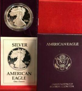 PROOF-1990-S-Silver-Eagle-in-MINT-Box-w-COA-FREE-SHIP