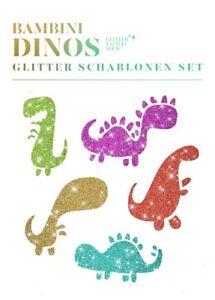 Glitzer-Tattoo-Schablonenset-Bambini-Dino-Set-10-fuer-Kinder-Geburtstags-Tattoo
