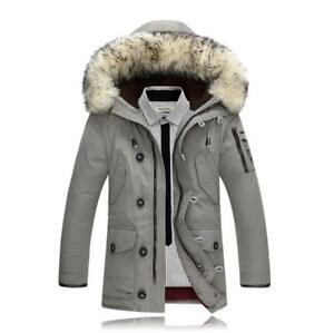 Men-039-s-Duck-Down-Jacket-Hooded-Fur-Collar-Warm-Outwear-Slim-Fit-Winter-Parka-Coat