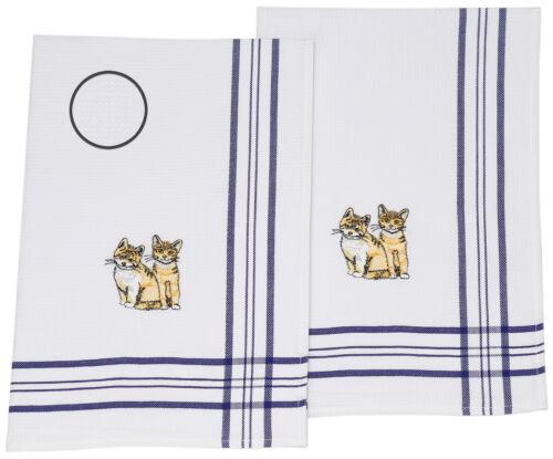 BETZ 2 Pièce Vaisselle foulards de cuisine foulards Gaufre Piqué Bleu Motif chaton