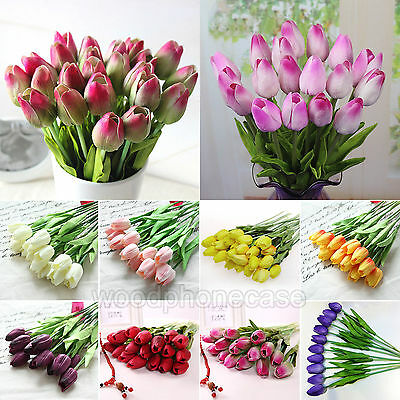 6 Head Tulip Flower Latex Real Touch For Bridal Wedding Party Home floral Decor