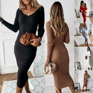 Womens-Knitted-Long-Sleeve-Jumper-Dress-Ladies-Winter-Bodycon-Sweater-Midi-Dress