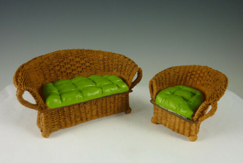 17207 Dollhouse Miniature Fairy Garden Small Resin Wicker Patio Set with Green
