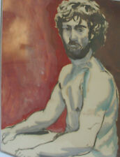 Male Nude Painting Portrait California Art Old Vintage Naked Man Framed Artwork