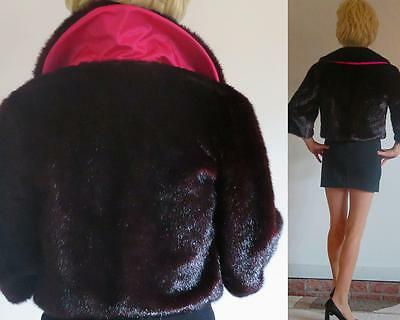 Retro style shimmering Burgundy FAUX FUR cropped jacket pink lining 3/4 sleeve M