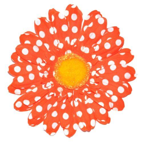 "4.5/"" Bright Orange /& White Polka Dot Gerbera Daisy Silk Flower Hair Clip"