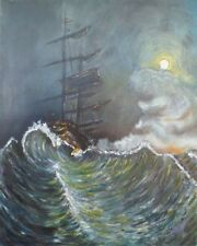 Boat painting canvas BALTIC SEA PASSAGE Ship Storm Pirate original art signed US
