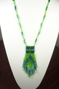 Designer Necklace-Crystal and Bugle Bead Bag w Fringe