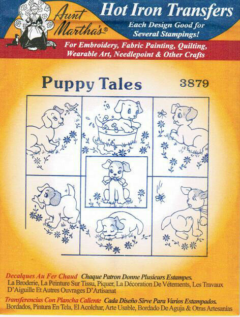 Puppy Dog Tales #3879 Aunt Martha's Hot Iron Embroidery Transfer Pattern