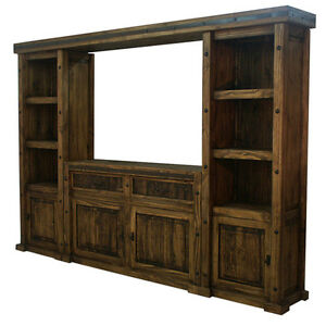Rustic Finca Western TV Wall Unit TV Stand Entertainment Center ...