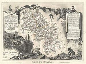 GEOGRAPHY-MAP-ILLUSTRATED-ANTIQUE-LEVASSEU-L-039-ISERE-POSTER-ART-PRINT-BB4362A