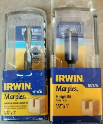 """1//4/"""" Shank Irwin Tools 1901015 Marples Straight Router Bit with 1//2/"""" x 1/"""""""
