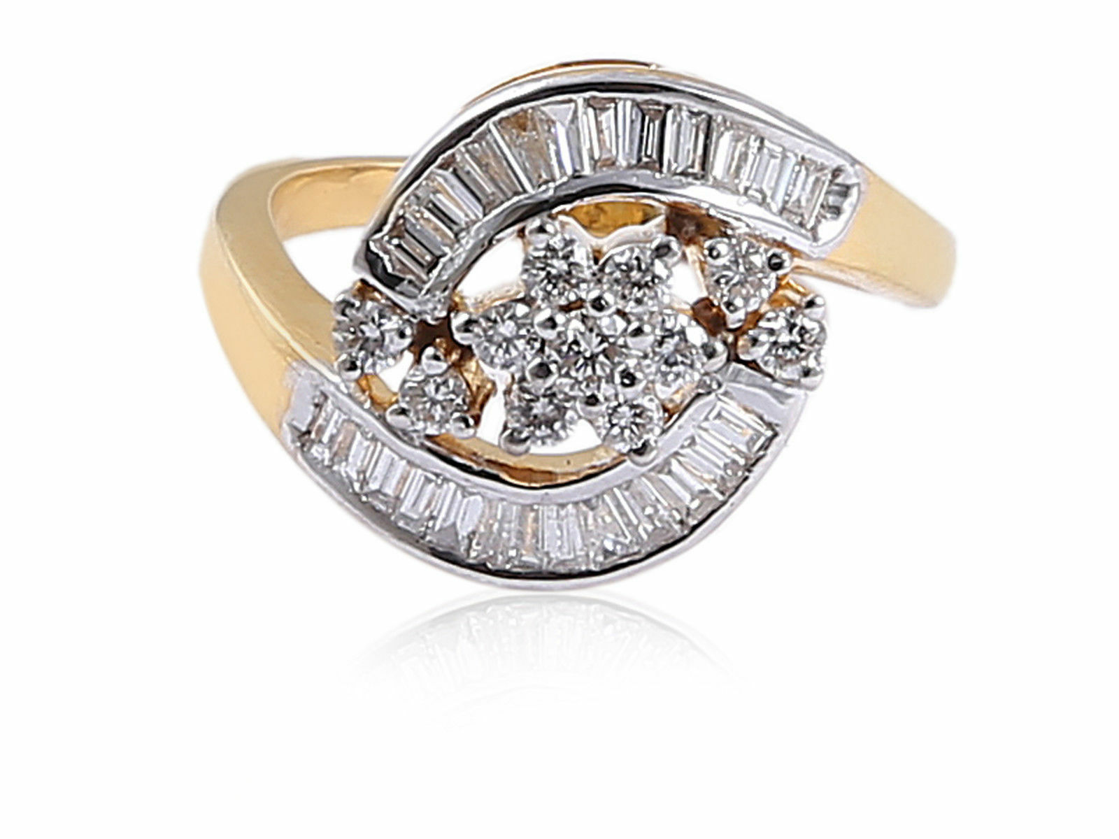Pave 0.73 Cts Round Baguette Cut Diamonds Engagement Ring In Solid 14Karat gold