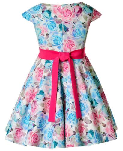 Kinder Madchen Kleid Festlich Einschulung Hochzeit Blumenmadchen Sommerkleid Blau Rosa Eurodite