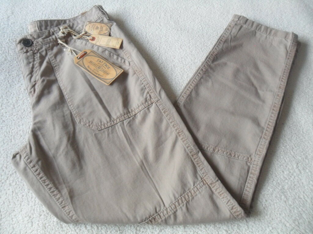 EX FAT FACE SEAMED WORKER STYLE MINK VINTAGE WASH PURE COTTON TROUSERS SIZE 8-18
