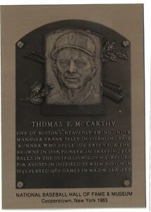 TOMMY-McCARTHY-Hall-of-Fame-METALLIC-Plaque-Card-Boston-Red-Sox