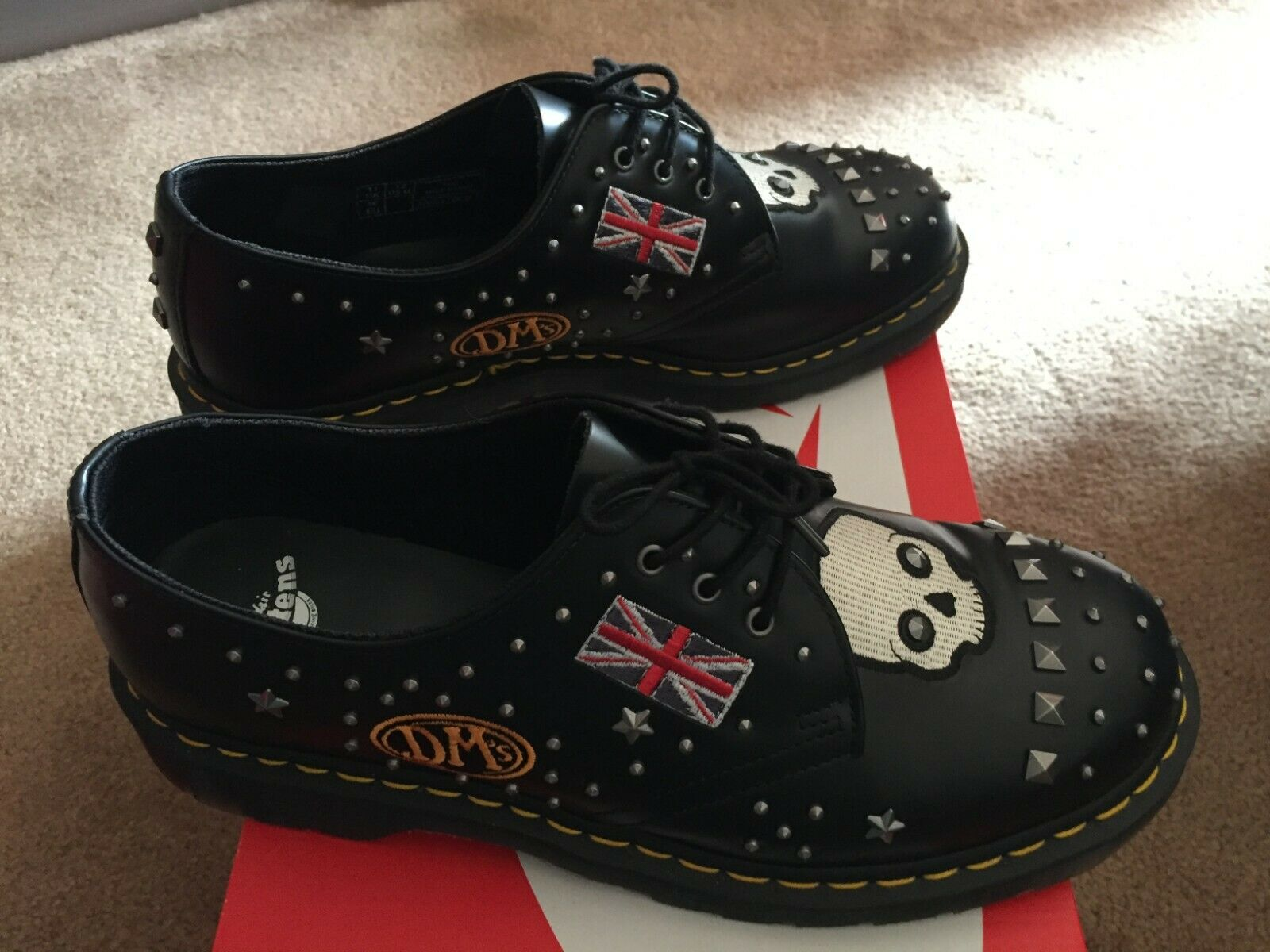 Dr Martens Unisex 1461 Black Rock and Roll Rockabilly Badges Leather Punk shoes