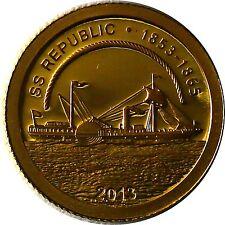 Cook Islands 1 Dollar 2013 Geschichte der Seefahrt SS Republik Gold PP