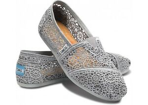 576667ccec0 Image is loading New-Authentic-Women-Silver-Morocco-Crochet-Toms-Shoes