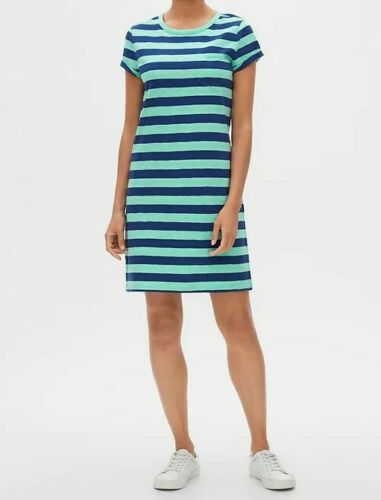 Nouveau Neuf avec étiquettes GAP WOMEN/'S Pocket Tee Robe T-shirt 100/% Coton Aqua rayures bleu 3 H
