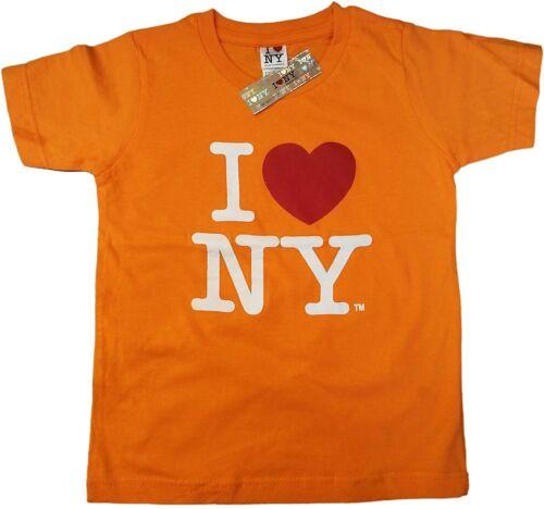 I Love NY Kids Short Sleeve Screen Print Heart T-Shirt Orange